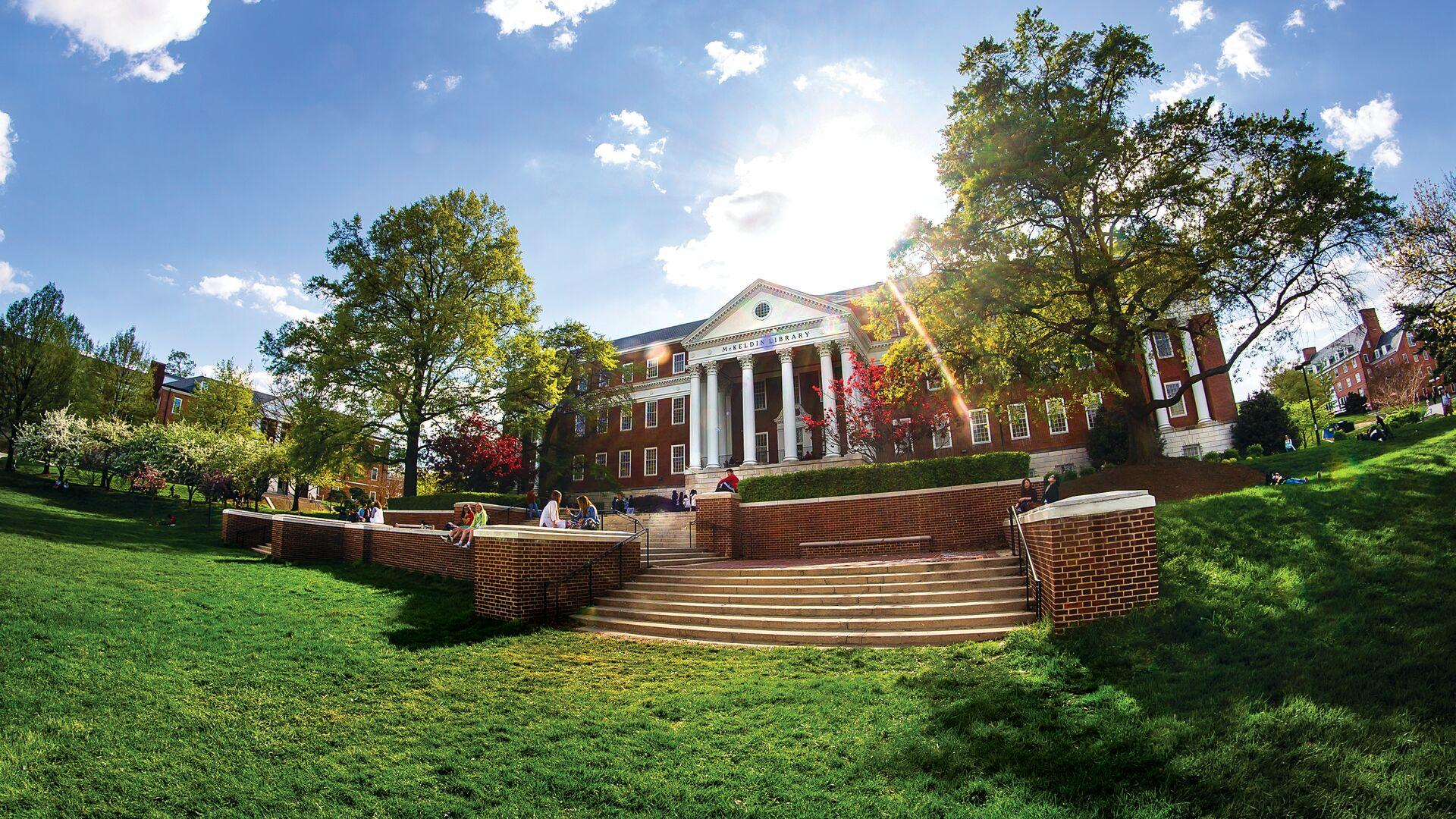Wide-angle view of McKeldin Library with lens flare.